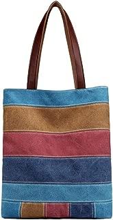 Women's Canvas Multi-Color block Shopping Handbag Shoulder Bag