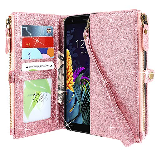 Lacass Premium Leather Flip Zipper Wallet Case Cover Stand Feature with Card Holder and Wrist Strap for LG Arena 2 /Journey LTE/LG Escape Plus/LG K30 2019 (Bling Rose Gold)