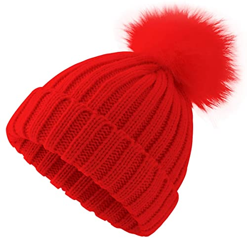 e11a92064551ae ElifeAcc 2018 Warm Winter Fur Hat Knitted Pom Pom Beanie Bobble Hats for  Outdoor Camping Ski