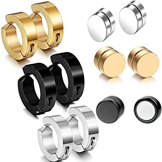 Assorted Stainless Steel No Piercing Clip On Earrings,8MM Magnetic No Piercing Earrings Studs for Non Pierced Ears,Hypoallergenic