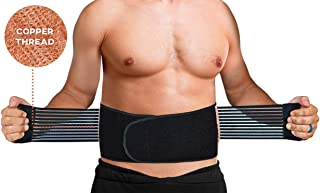 Back Brace Support Belt - Copper Infused - Breathable Mesh & Dual Adjustable Straps - Anti Microbial - Helps Lumbar Pain, Back Pain, Lower Back Support (L/XL Navel: 37
