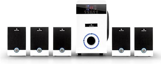 auna MM-5.1-JW White Edition - Sistema de Sonido Envolvente 5.1, 95 vatios de Potencia RMS, Home Cinema, Sonido Surround, Timer programable, Efecto de iluminación LED Azul, Función Mute, Blanco
