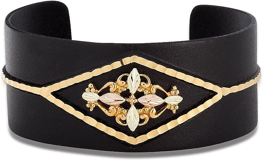 Landstroms Powder Coated Base Metal Cuff Bracelet with 12k Black Hills Gold Leaves - G LBR3470