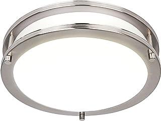 Hykolity 10 inch Flush Mount LED Ceiling Light Fixture, 17W[120W Equivalent] 1100lm CRI 90+, 3000K/4000K/5000K Adjustable, BN Finish Saturn Dimmable Ceiling Lamps, ETL for Hallway, Bathroom or Kitchen