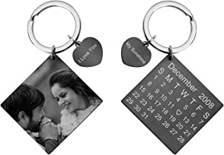 Zysta Personalized Engraved Calendar/Photo/Text Keychain for Couple Stainless Steel Custom Special Date Keyring ID Tag Memorial