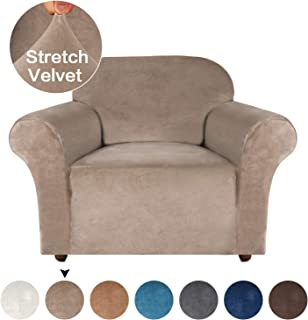 Turquoize Velvet Chair Cover High Stretch Furniture Covers for Sofa and Loveseat 1-Piece Couch Cover/Chair Covers/Sofa Slipcover, Skid Resistant Spandex Furniture Slipcovers for Chairs (Taupe, Chair)