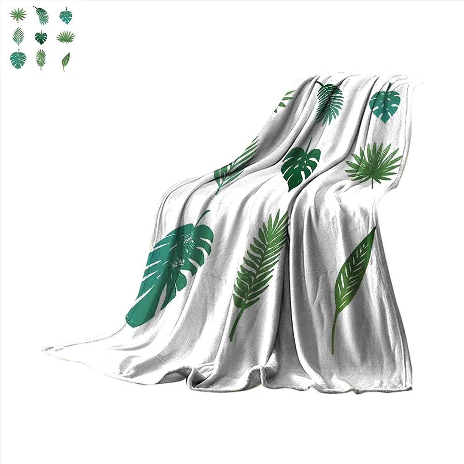 Smallbeefly Palm Tree Super Soft Lightweight Blanket Tropical Paradise Island Nature Theme Hand Drawn Collection Palm Foliage Oversized Travel Throw Cover Blanket 62 x60  Green and White
