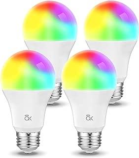 Smart Light Bulb, Works with Alexa, Echo, Google Home and Siri, AL Above Lights Dimmable E26 9W Wi-Fi LED Smart Bulb, Soft White (2700K), 60W Equivalent, 810 LM, RGB+W, ETL Listed - 4 Packs
