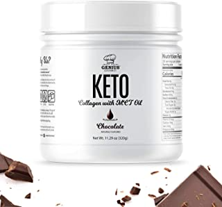 Genius Gourmet Keto Collagen Powder with MCT Oil - Hydrolyzed Collagen Type I and III, Grass-Fed, Sugar-Free, Use in Coffe...