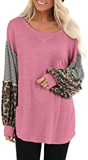Women's Striped Round Neck Top Leopard Colorblock Pullover Long Sleeve Casual Sweater