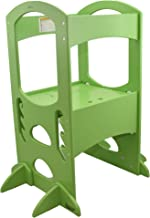 Little Partners Learning Tower Kids Step Stool | Adjustable Kitchen Counter Step-Up Helper (Apple Green)