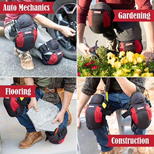 Professional Construction Flooring Knee Pads for Work with Comfortable Heavy Duty Gel Foam, 3 No-Slip Straps & 2 Versatile Tool Belts by RFG Gear