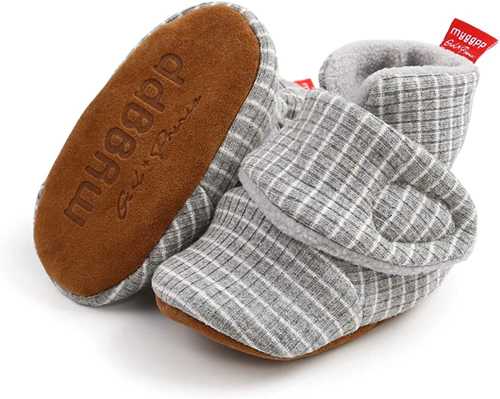 FEAMODAL Newborn Infant Baby Boys Girl Cozy Fleece Booties Soft Non Skid Boots with Grippers Toddler First Walkers Winter Ankle Crib Shoes
