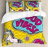 Set copripiumino Good Vibes, fantastico design colorato divertente Simpatico magico unicorno nuvoletta stelle e ciambella, set decorativo da letto in 3 pezzi con, copripiumino, 2 federe, pieno
