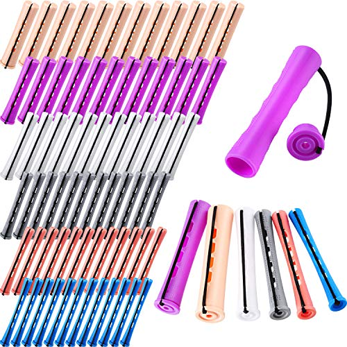 72 Pieces Plastic Hair Perm Rods Long Variety Perm Rods Pink Hair Curling Roller Rods for Women Girls Hair Hairdressing Styling Tools, 6 Sizes and 6 Colors