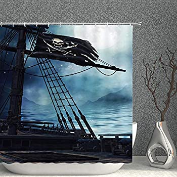 Vintage Pirate Ship Decor Shower Curtain Fantasy Ocean Scenery Deck Black Flag Blue Sea Water Fabric Bathroom Curtains,70x70 Inch Waterproof Polyester with Hooks