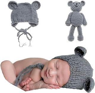 Newborn Baby Bear Hat Beanie with Bear Dolls Photography Accessories Grey