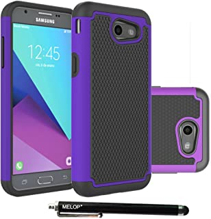 Galaxy J3 Emerge Case, MELOP Hybrid Dual Layer Tough Ultra Defender Protective Shell Case Cover for Samsung Galaxy J3 Emerge 2017 / Express/Amp Prime 2 /Sol 2/ Eclipse/Luna Pro / J327P - Purple