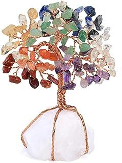 Reizteko 7 Chakra Natural Healing Gemstone Crystal Bonsai Fortune Feng Shui Tree of Life Ornament Reiki Crystals Office Ta...
