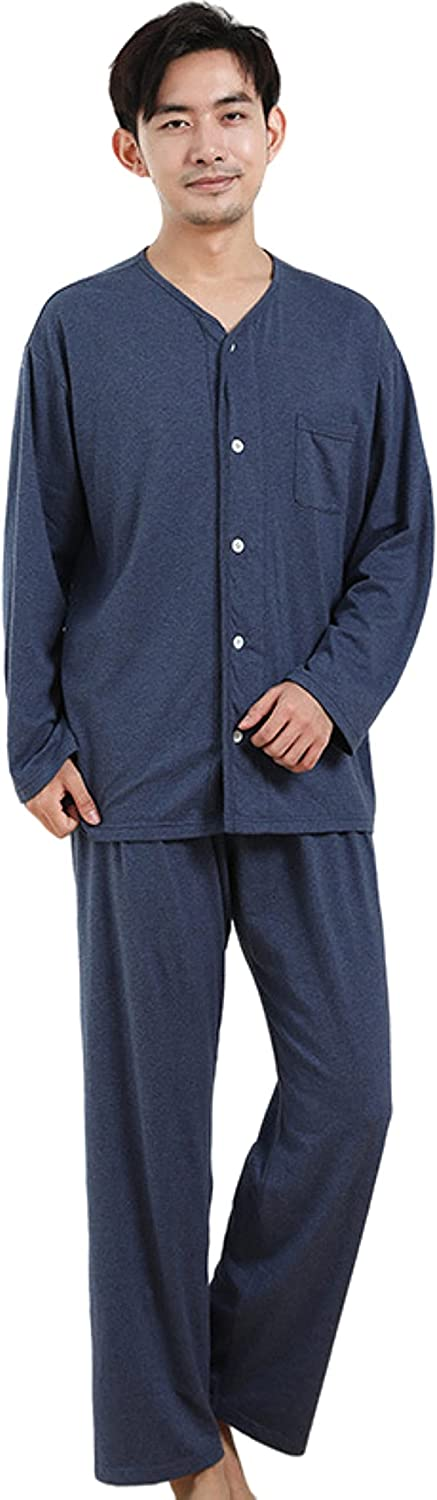 100% cotton men's long sleeved pajamas suit cardigan button loose casual home wear