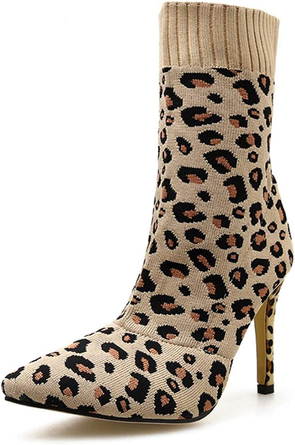 Women Mid Heels Boots LadiesLeopard Knitted Calf Wool Boots Autumn Springtime New Pointed Stretch Boots Middle Tube High Heel Single Boots