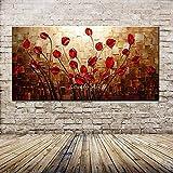 Pintura de pared: pintura al óleo pintada a mano sobre lienzo, gran tamaño abstracto pétalo rojo paleta de colores cuchillo pintura al óleo decoración de la sala de estar para el hogar moderno comedor