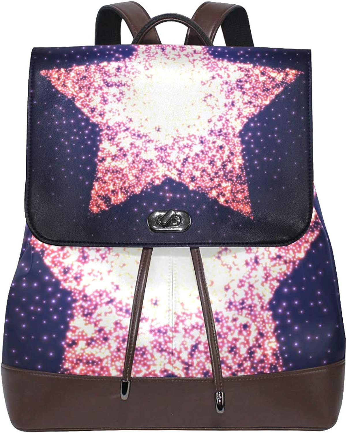 Fashion Shoulder Bag Rucksack PU Leather Women Girls Ladies Backpack Travel Bag Red Starry Sky Projector
