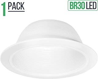 Four Bros SB30/WHT Stepped Baffle Recessed Can Light Trim for BR30/38/40, PAR30/38, LED, Incandescent, CFL and Halogen, 6 Inch, White