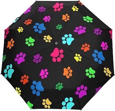 MMLCGG Lightweight Portable Sun/&Rain Travel Umbrella Bones and Dog Cat Paw Footprint