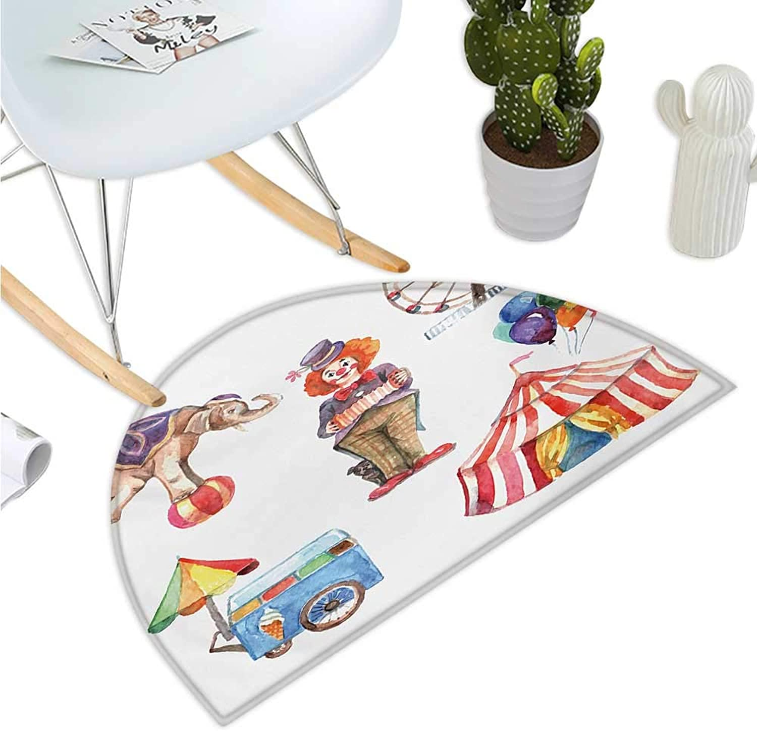 Circus Semicircular Cushion Circus Elements with Clown Elephant Balloons Ice Cream Cart Watercolor Illustration Entry Door Mat H 43.3  xD 64.9  Multicolor
