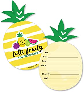 Tutti Fruity - Shaped Fill-in Invitations - Frutti Summer Baby Shower or Birthday Party Invitation Cards with Envelopes - Set of 12