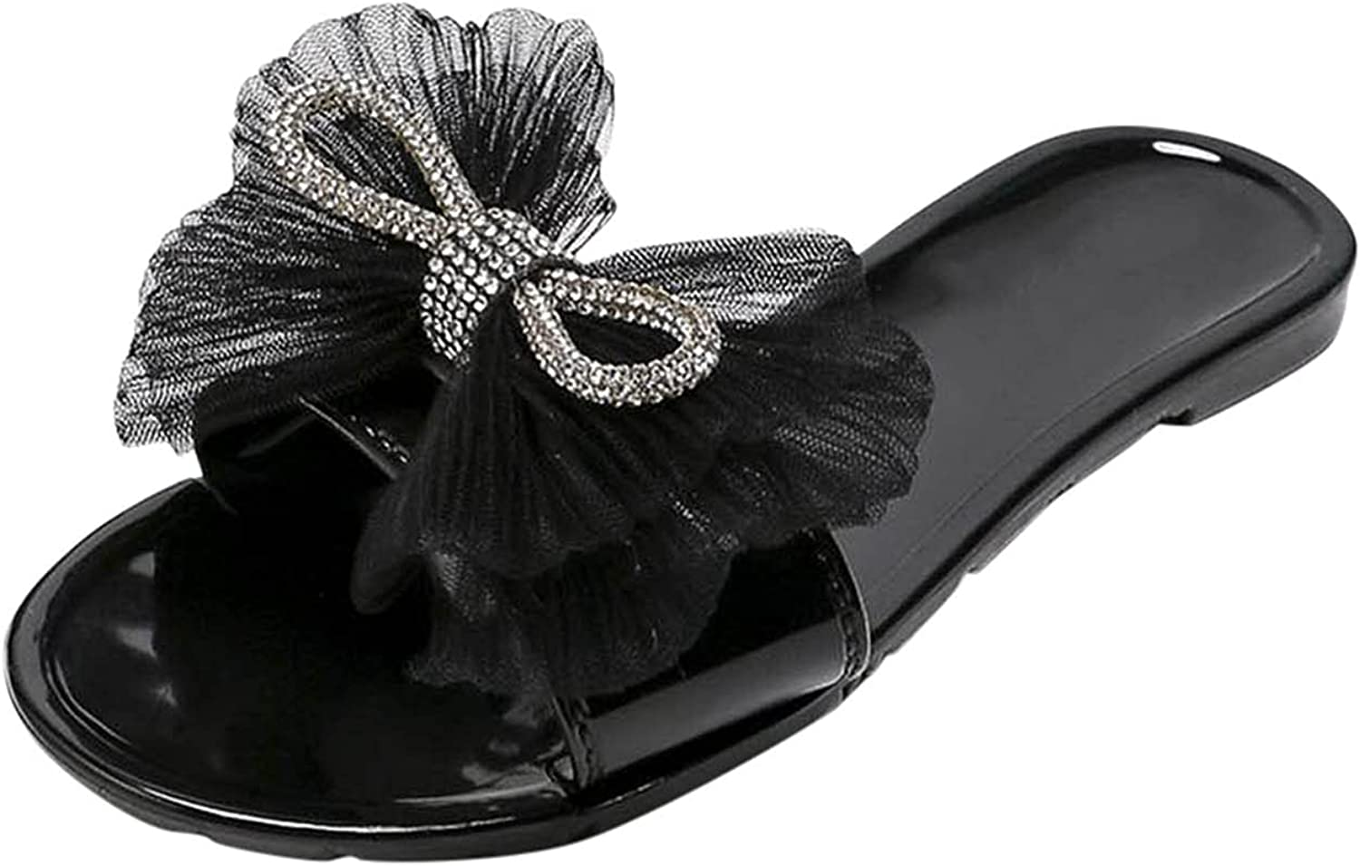 Fashion Women's Casual Shoes Breathable Rhinestone Bow Slippers Open-toed Flip-flops Rubber Flat Non-slip Slippers Beach Outdoor Casual Sandals