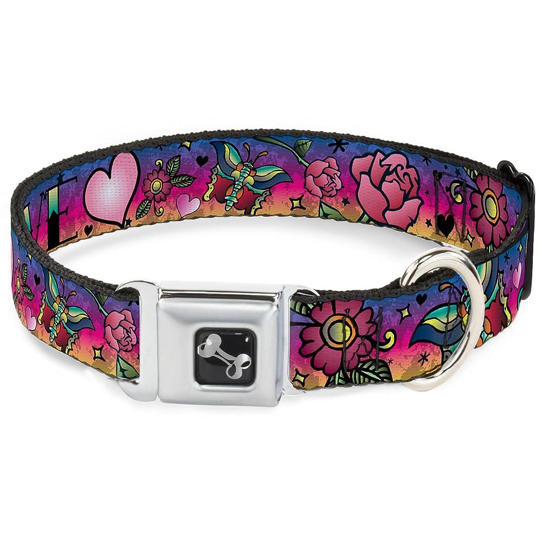 Buckle-Down Seatbelt Buckle Dog Collar - Love Love Purple