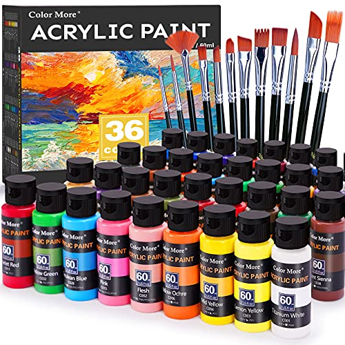 Acrylic Paint Set 36 Colors(2oz /60ml) with 12 Brushes,Rich Pigmented, Premium Acrylic Paints for Canvas Wood Glass Rock Leather Painting, Art Craft Paint Supplies