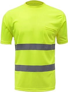 SFVest - Camiseta Reflectante T-Shirt de Alta Visibilidad Polo Uniforme Industrial de Seguridad para Trabajo Moto Bicicleta - Amarillo