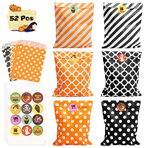 SEELOK 48pcs Halloween Candy Paper Bags Kids Gift Bags with Sealing Stickers Trick or Treat Bag Halloween Party Supplies