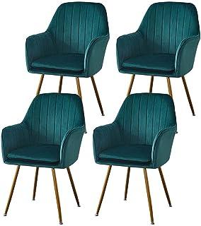 ZCXBHD Conjunto de 4 Piezas sillas Comedor sillas encimera Cocina Salón Ocio habitación Esquina Sillas sillas Terciopelo recepción con Respaldo y Asiento Acolchado (Color : Green)