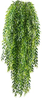 HO2NLE 2pcs Fake Hanging Plants Artificial Willow Leaves Faux Foliage Plastic Greenery Garland Wall Porch Patio Arch Balcony Basket Garden Party Wedding Decorations
