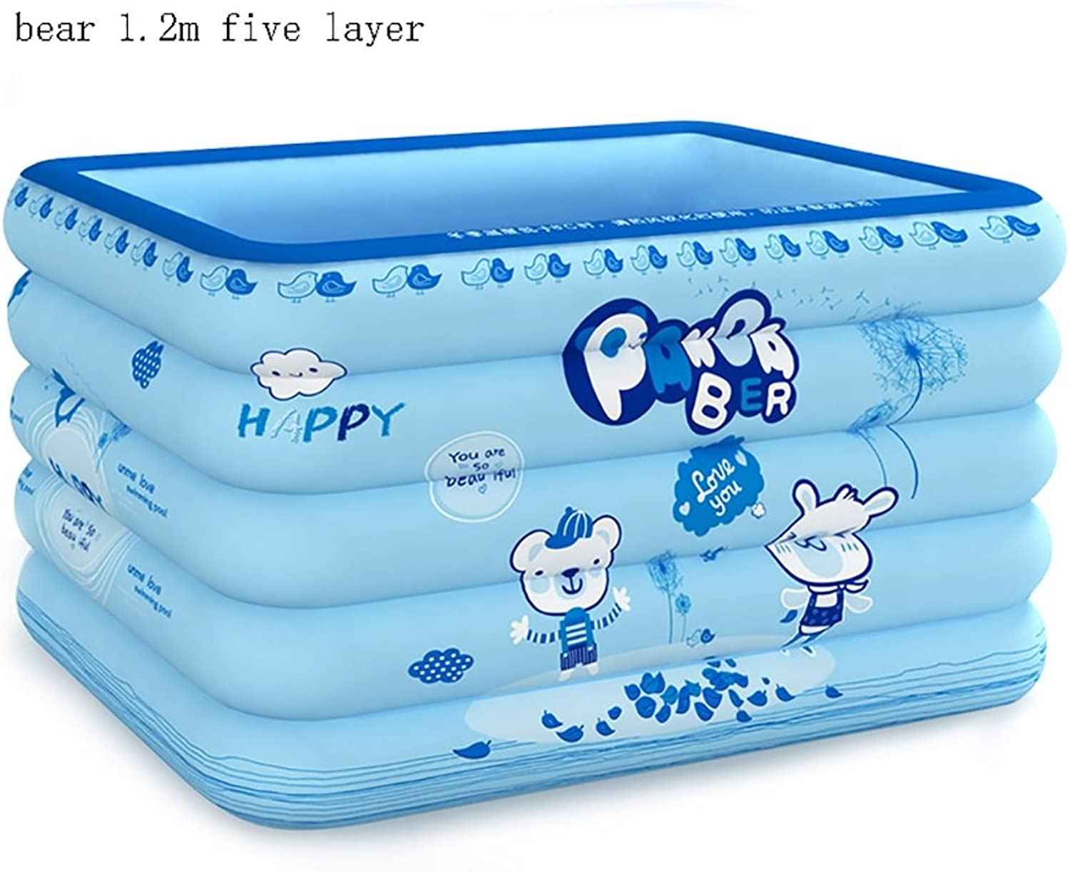 Folding Tub Swimming Pool Inflatable Home Thickened Indoor Marine Ball Swimming Pool With Hand Pump (color   1.2m bear)
