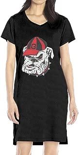 Women's Georgia Bulldogs UGA V-Neck Short Sleeve Casual T-Shirt Dress