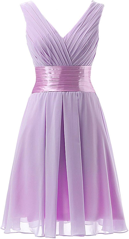 JAEDEN V Neck Short Bridesmaid Dresses Short Pleat Prom Dress Gown