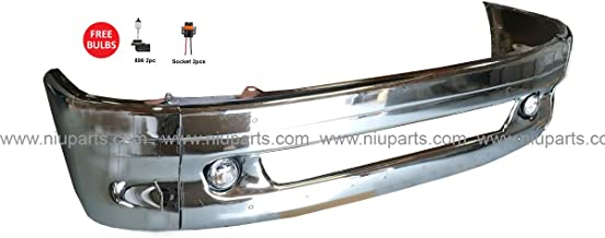 7 Pieces Combo - Central Bumper Chrome with Fog Light and Side Bumper End with Support Bracket - Driver and Passenger Side (Fit: Freightliner Columbia 1997-2014 Truck)