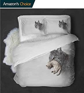 Temox Elegant and Comfortable Lynx in The Central Norway Wild Cat North Cold Snowy Mountain Carnivore PredatorGrey White Twin Quilt -3 Pieces (Includes 1 Quilt- 2 Pillow)