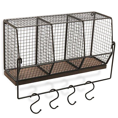 MyGift Wall-Mounted Chicken Wire Kitchen Organizer Shelf Rack/Fruit Storage Basket with Towel Bar & 4 S-Hooks
