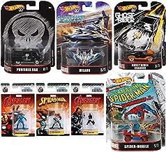 Nano Metals Marvel Comics Collection Retro Hot Wheels Punisher Black Van, Spider-Man Mobile Buggy Ghost Rider Charger / Milano Starship + Nick Fury / Spider-Girl & Sleath Iron Mini Figure Pop Bundle
