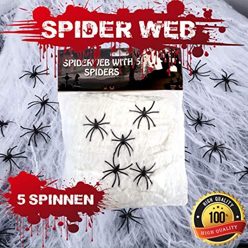 Halloween Spinnennetz Party Deko Spinnweben Dekoration in Weiss inkl. 5 Horror Spinnen, über 15 Quadratmeter dehnbar