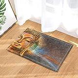 SRJ2018 Estatua De Buda Decoración Artística Acuarela Cabeza De Buda Zen Buda Super Absorbente, Alfombra Antideslizante O Tapete para Puerta, Suave Y Cómodo