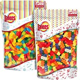 Lalees SUGAR FREE Gummy Bears and Sugar Free Gummy Worms - 2 Pack of 1 Pound Each - Bulk Sugar Free Candies - Gummi Mix
