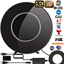 $39 » [Upgraded 2020] TV Antenna, Indoor HD Digtial Antenna Amplified 200 Miles Range Support 4K 1080P & All TV's Digital Antenna with Amplifier Signal Booster,17ft Coax Cable/USB Power Adapter (Black)