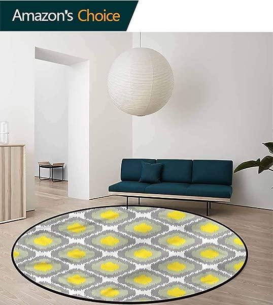 RUGSMAT Ikat Super Soft Circle Rugs For Girls Old Form Shapes Bundles Non Skid Bath Mat Living Room Bedroom Carpet Diameter 24